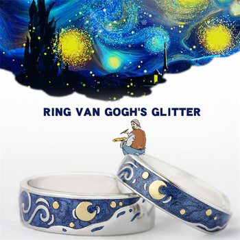 Moon Star Starry Night Van Gogh Adjustable Rings For Couple Lover's 925 Silver  1