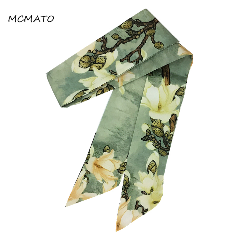 Oil Painting Plum Blossom Print Woman Twilly Silk Scarf 88cm*5cm Small Long Green Yellow Head Scarf Bag Ribbons Ladies Scarves