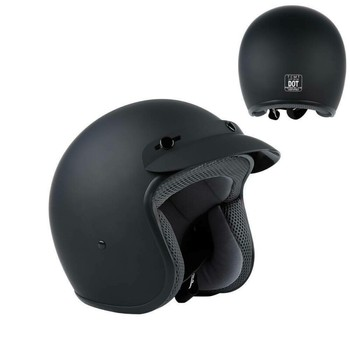 DOT Matte Black 3/4 Open Face ABS Adult Helmet Scooter Motorcycle Helmets S/M/L/XL For all seasons Sun Visor 1