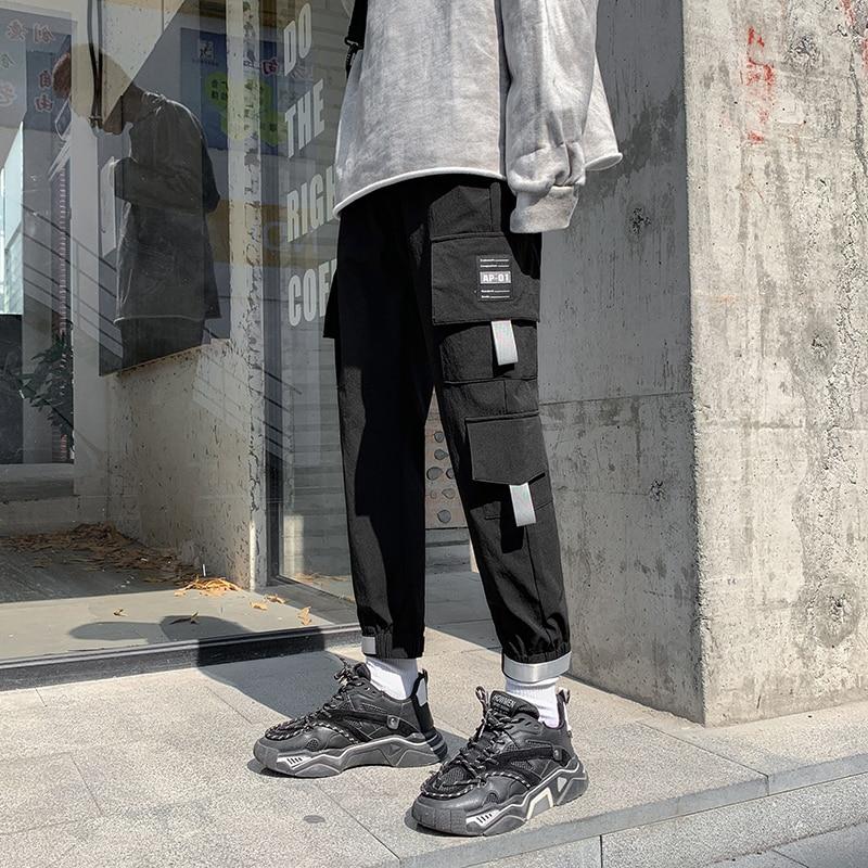 Hot 2020 New Men's Cargo Pants Hip Hop Elastic Waist Pure CottonCasual Pants Joggers Street Attire Loose Harajuku Sweat Pant Men