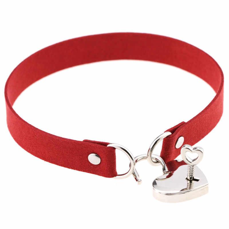 Egirl מפתח ולנעול תליון לילה מועדון קולר שרשרת שחור אדום פו עור סקסי צווארון קולר נשים ילדה פאנק מפלגה תכשיטים