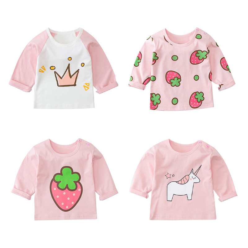 Strawberry Shirt Tops Long-Sleeve Fall Toddler Autumn Girls Little Wholesale Pink White