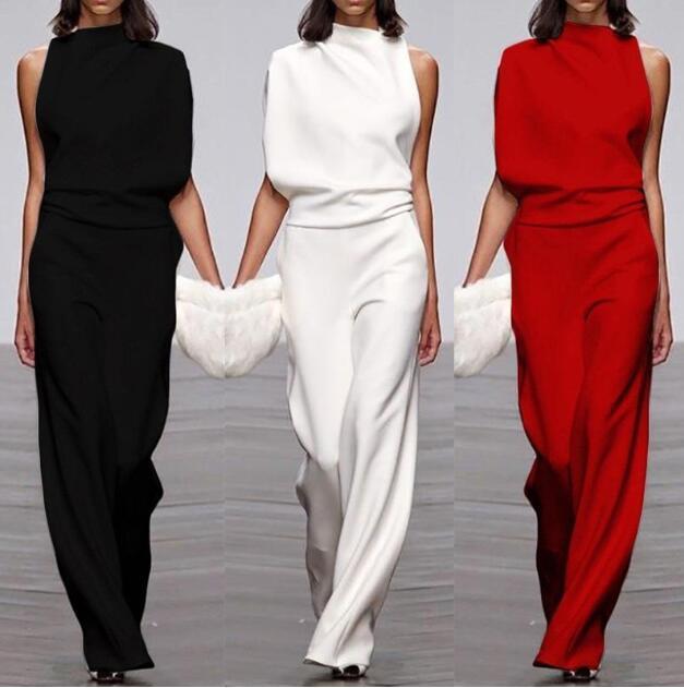 2020 Hot Sale One Shoulder Jumpsuits Summer Sleeveless  Wide Leg Pants Elegant Lady Casual Rompers White Black