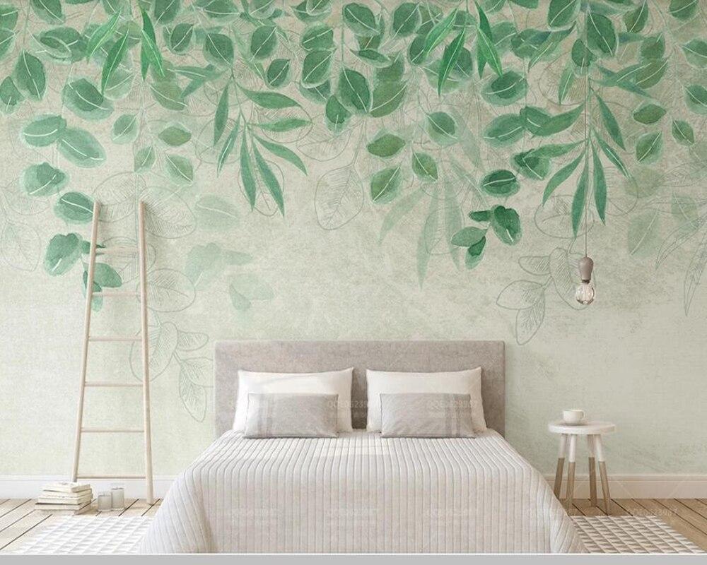 Papel de parede feuilles vertes fraîches aquarelle pastorale 3d papier peint, salon cuisine chambre papiers peints décor à la maison murale