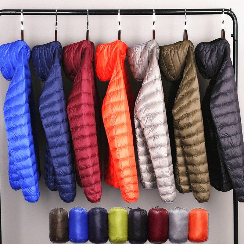 Multi-color 2019 Winter Fashion Brand Ultralight Duck   Down   Jacket Men Hooded Streetwear Light Feather Waterproof Warm   Coat   4XL