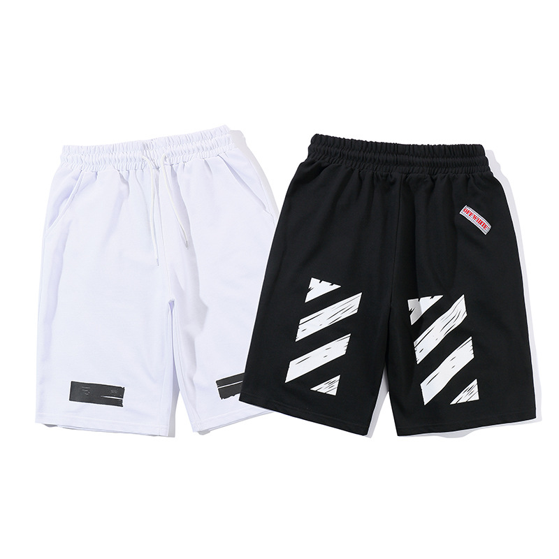 Off Summer Popular Brand Ow Classic Diagonal Stripes White Casual Shorts Sports Shorts COUPLE'S Ow Fashion