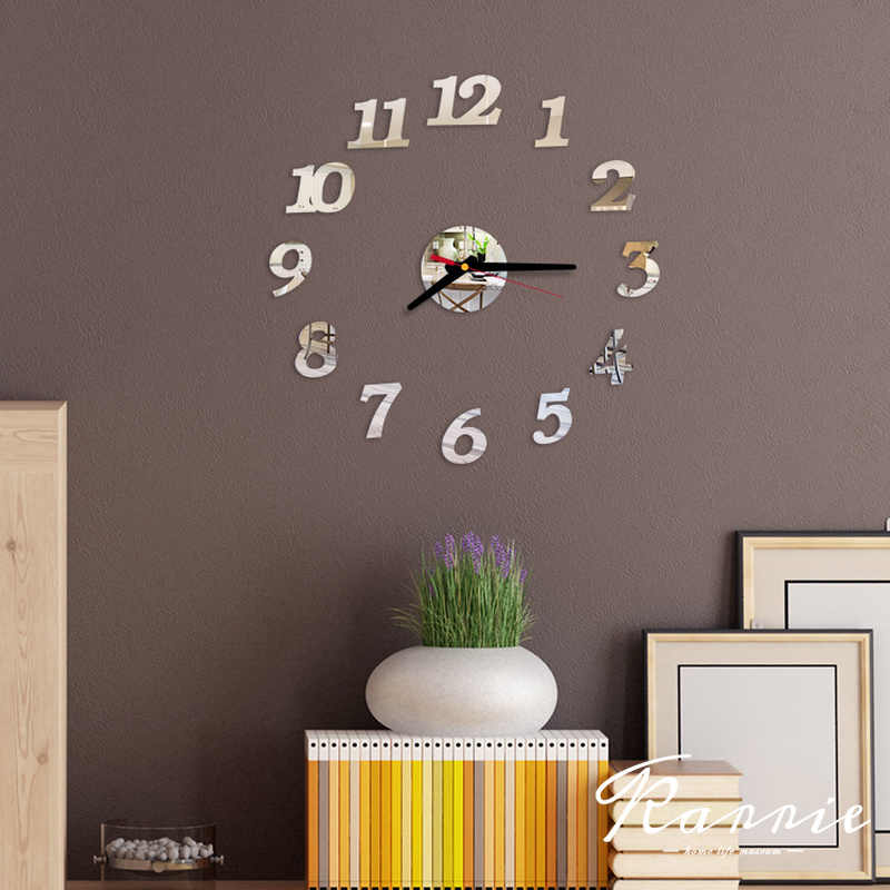 Jeden zestaw DIY kreatywny cyfrowy akrylowy zegar ścienny lustro bez ram naklejki nowoczesne artystyczne naklejki Home Decor nowoczesny wystrój 40cm
