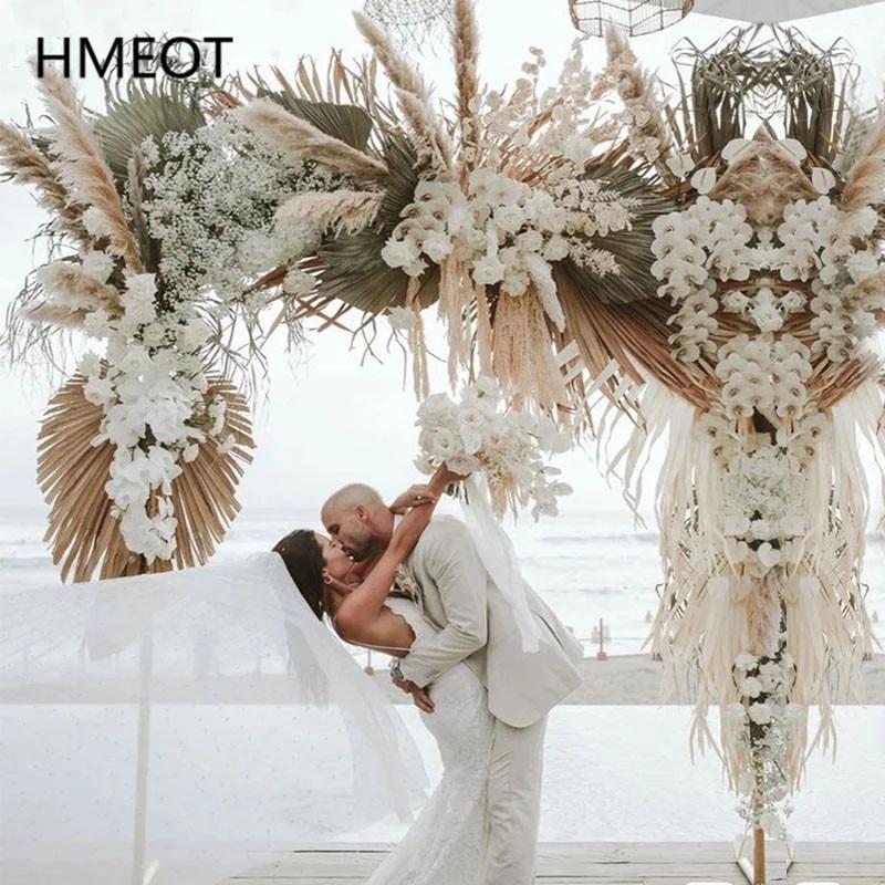 Gorący naturalny suszony kwiat układ Pampas trawa trzciny kwiat wiersz DIY rekwizyty ślubne tło dekoracyjne kwietny łuk ściany konfigurowalny