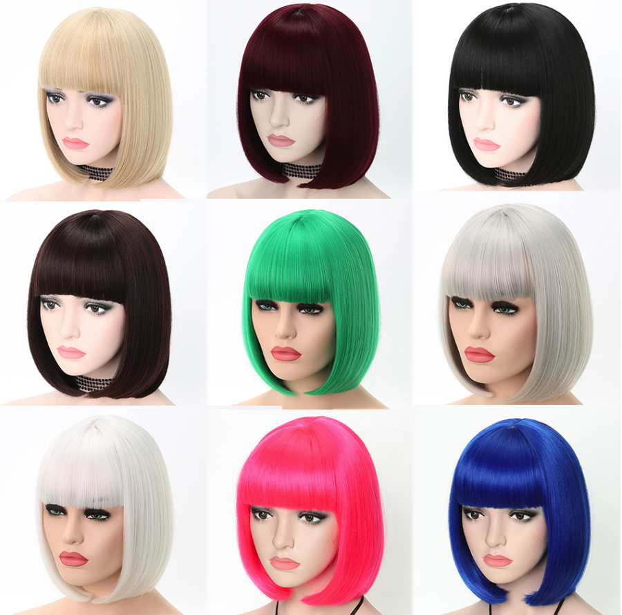 FREEWOMAN Short Bob Wig With Bangs Heat Resistant Lolita Cosplay Wigs Hair Extension Synthetic Hair Kanekalon Fake Hair Green12