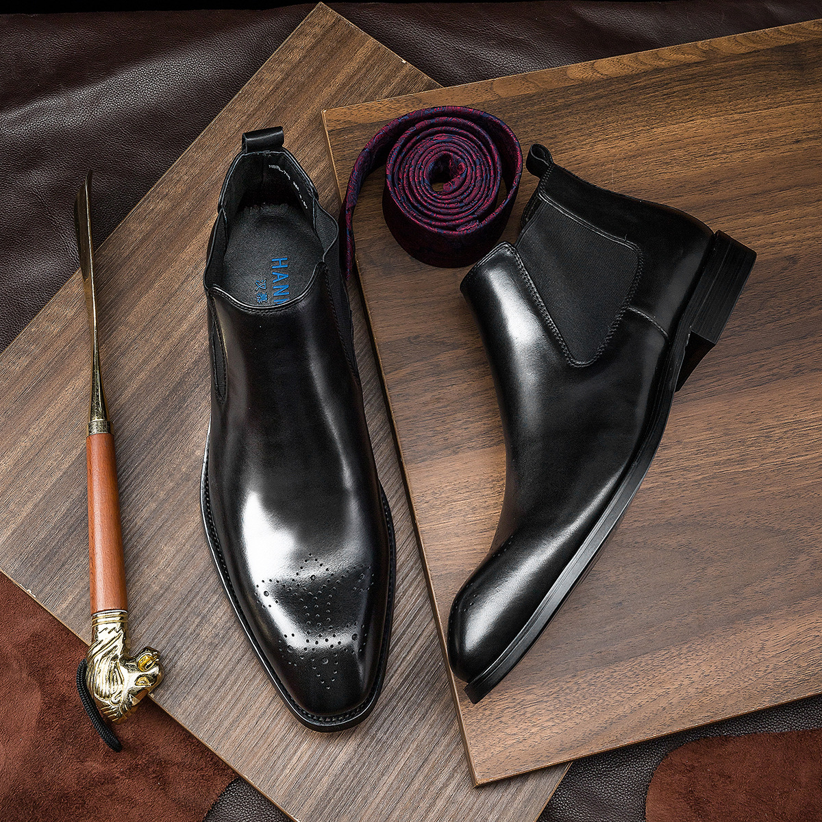 Brand Winter Men Chelsea Boots Genuine Leather Black Brogue Casual Ankle Flat Shoes Slip On Dress Fashion Designer Boots Size 44