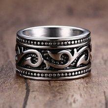 Novo vintage viking pirata peixe gancho padrão anel anel de metal banhado a prata retro anel acessórios festa jóias