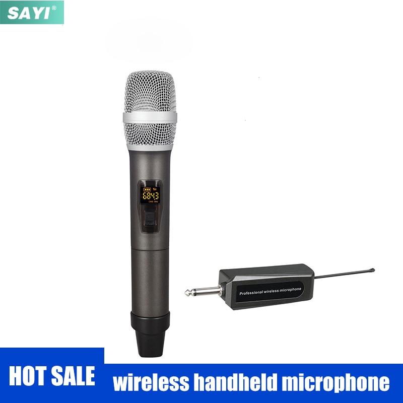 Двухканальный УВЧ беспроводной микрофон SAYI WMH03, ручной перезаряжаемый приемник с защитой от воющего, динамический микрофон для караоке