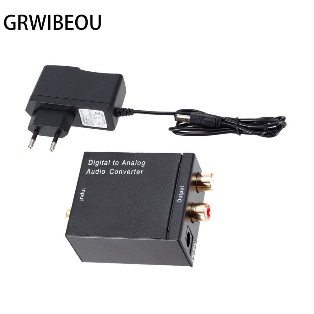 Grwibeou DAC Adapter Digital To Analog Audio Converter Optical Fiber Toslink Coaxial Signal To RCA R/L Audio Decoder Amplifier