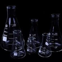 1 шт. колба из боросиликатного стекла Erlenmeyer коническая треугольная колба с узким горлышком лабораторное химическое оборудование от 50 мл до 1000 мл