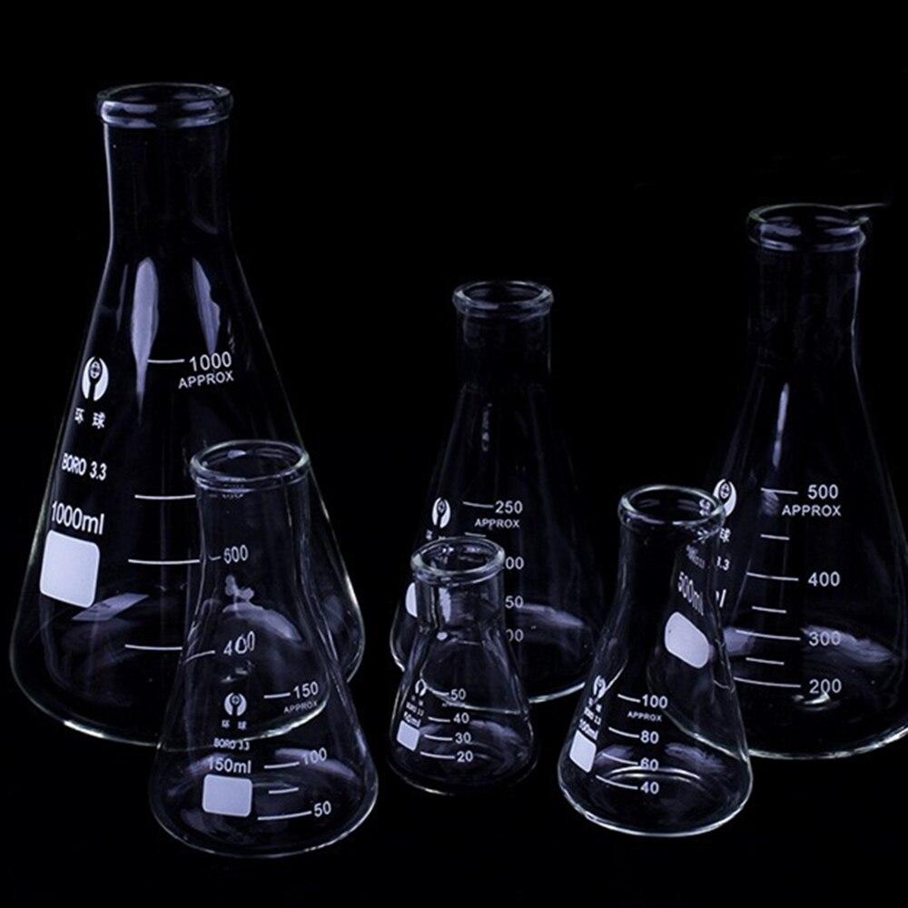 1 шт Erlenmeyer Боросиликатное Стекло колба узкая Шея коническая треугольная колба лабораторное химическое оборудование от 50 мл до 1000 мл