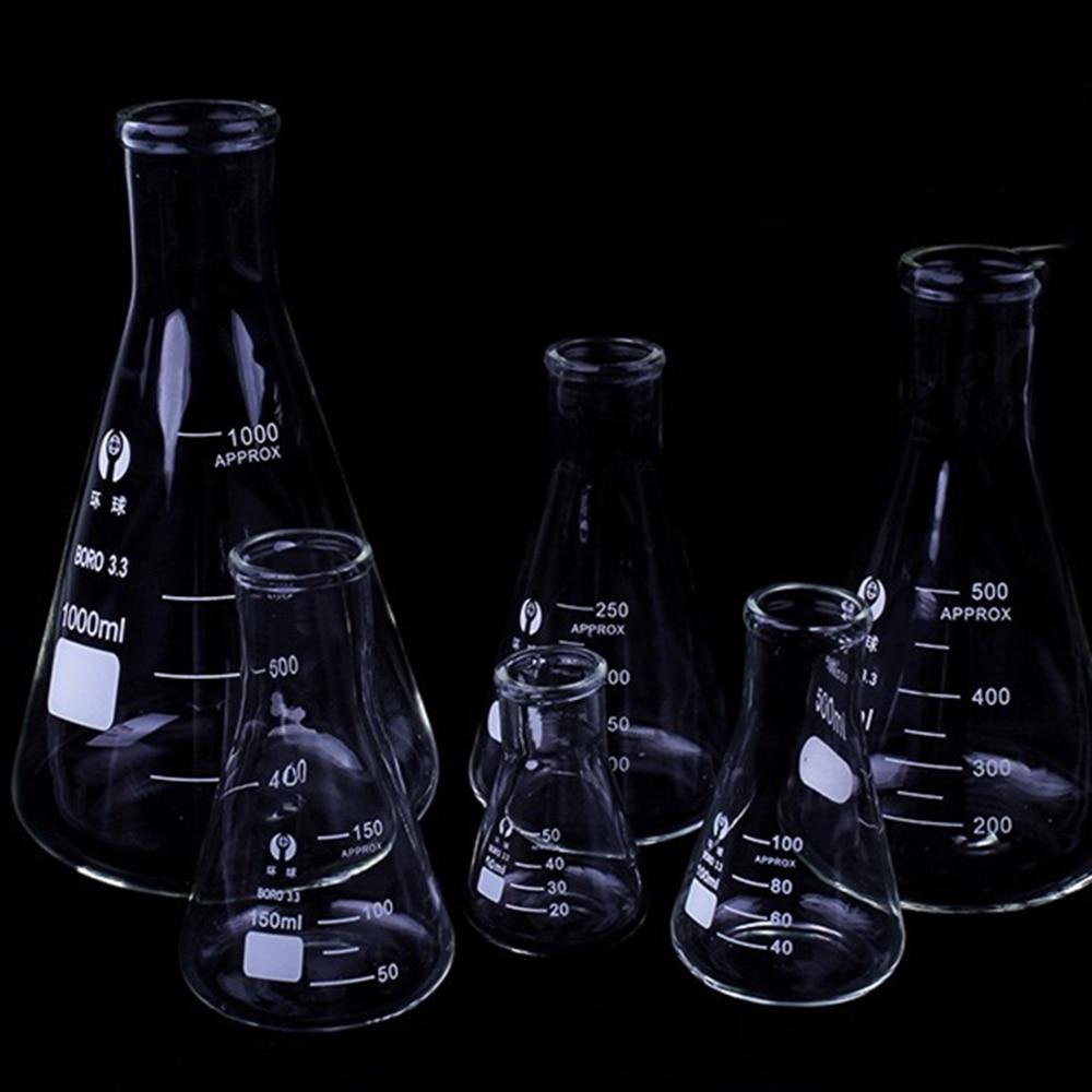1 PC Erlenmeyer Borosilicate Glass Flask Narrow Neck Conical Triangular Flask Laboratory Chemical Equipment 50 Ml To 1000ml(China)