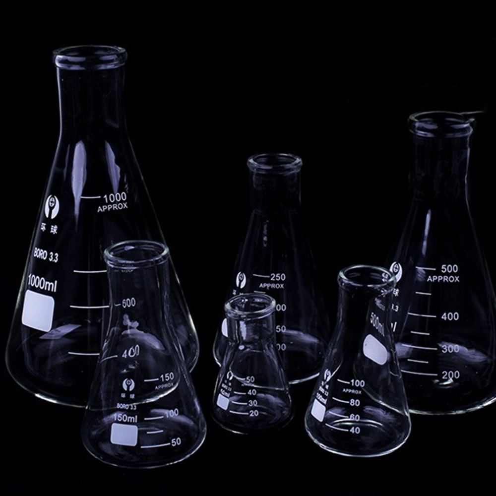 Frasco de vidrio de borosilicato de 1 pieza, frasco Triangular cónico de cuello estrecho, equipo químico de laboratorio, 50 Ml a 1000ml