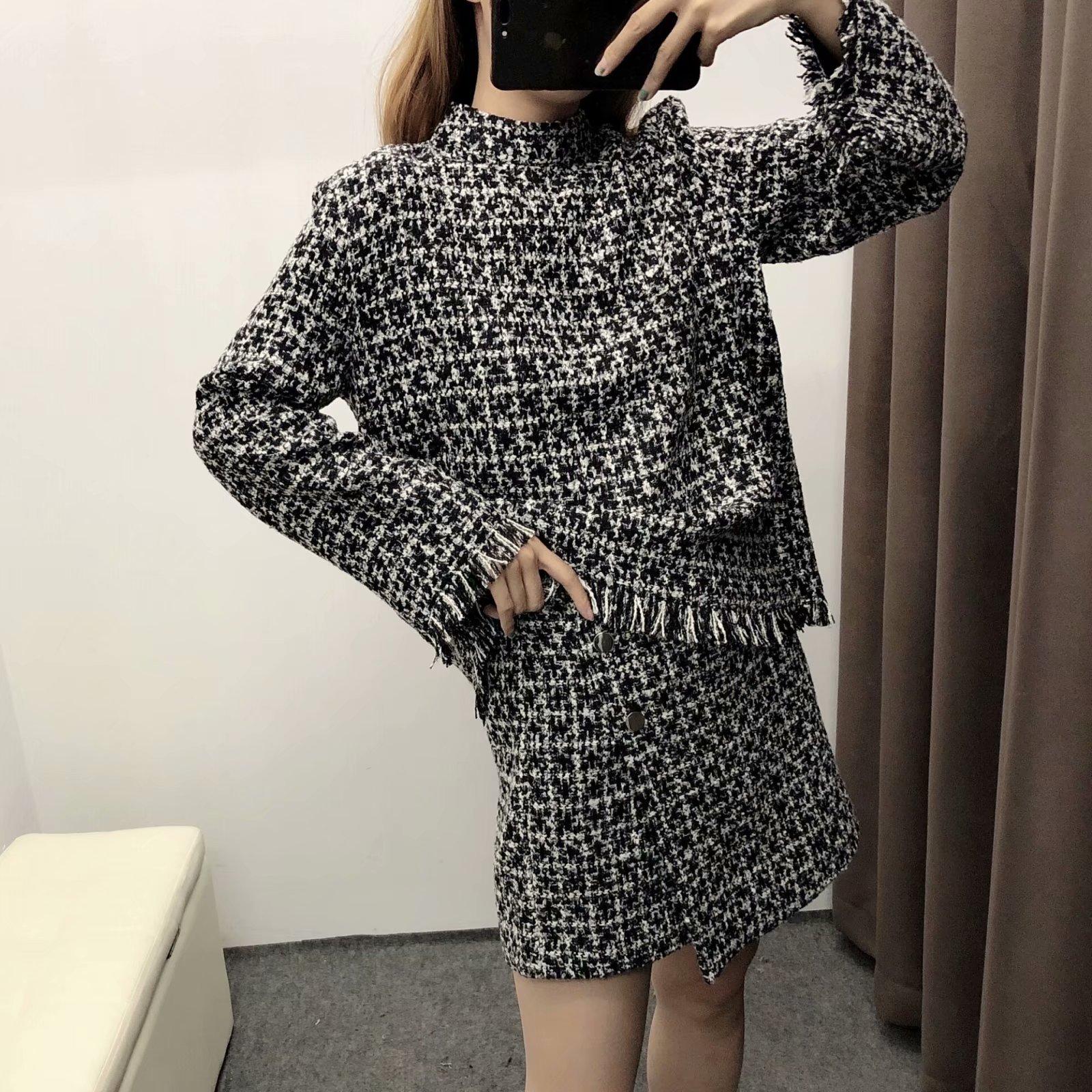 Single WOMEN'S Dress Autumn New Style Europe And America Versitile Fashion Retro Graceful Tweed Casual Short Skirts