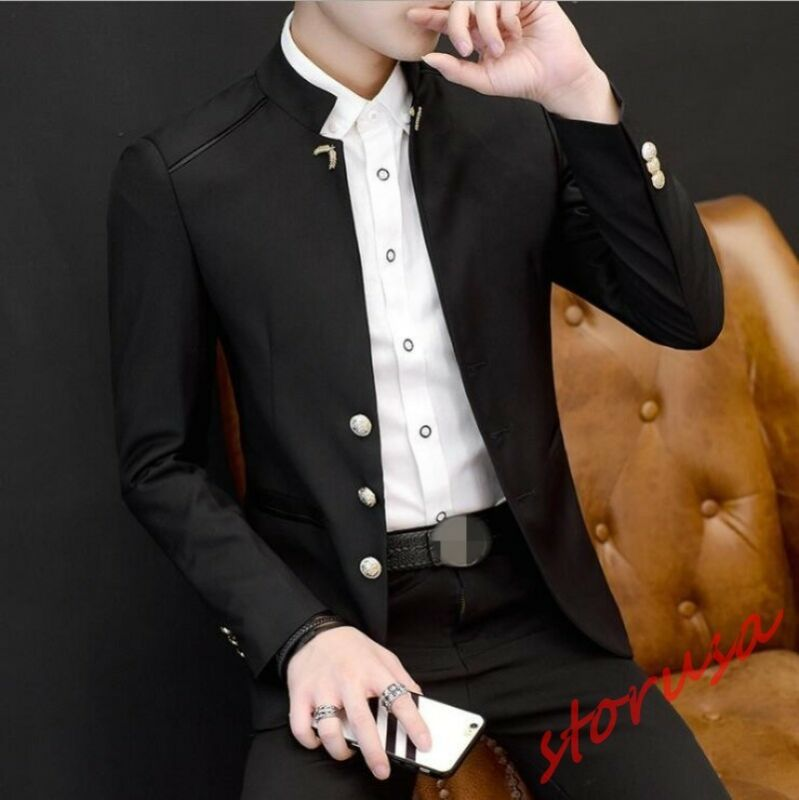 Fashion Mens Casual Stand Collar Coats Slim Fit Blazers Formal Dress Jacket Tops