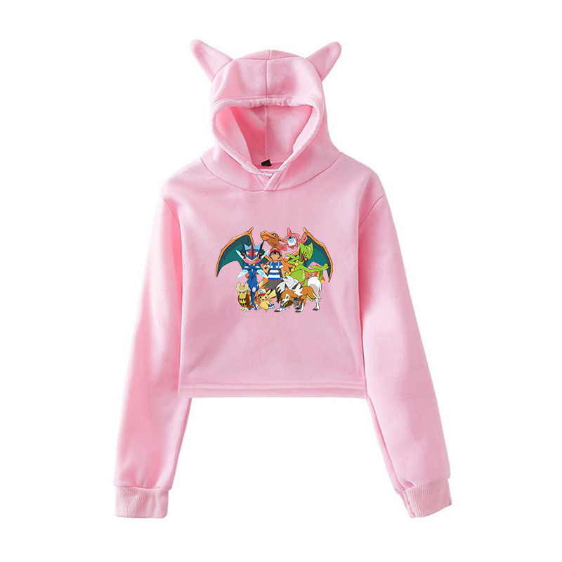 Love My Pitbull-1 Cute Cat Ear Crop Top Pullover Fleece for Women Teen Girls