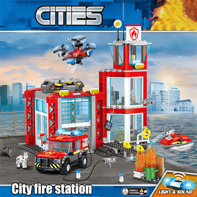 537pcs Fire Fighting Car Building Blocks Compatible City Fire Department Helicopter Boat Figures Bricks Children Toys