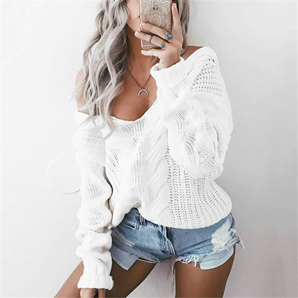Women Winter Knitted Sweater Women Autumn White Hollow Out Female Pullover Sweater Sexy Deep V Neck Long Sleeve Jumpers