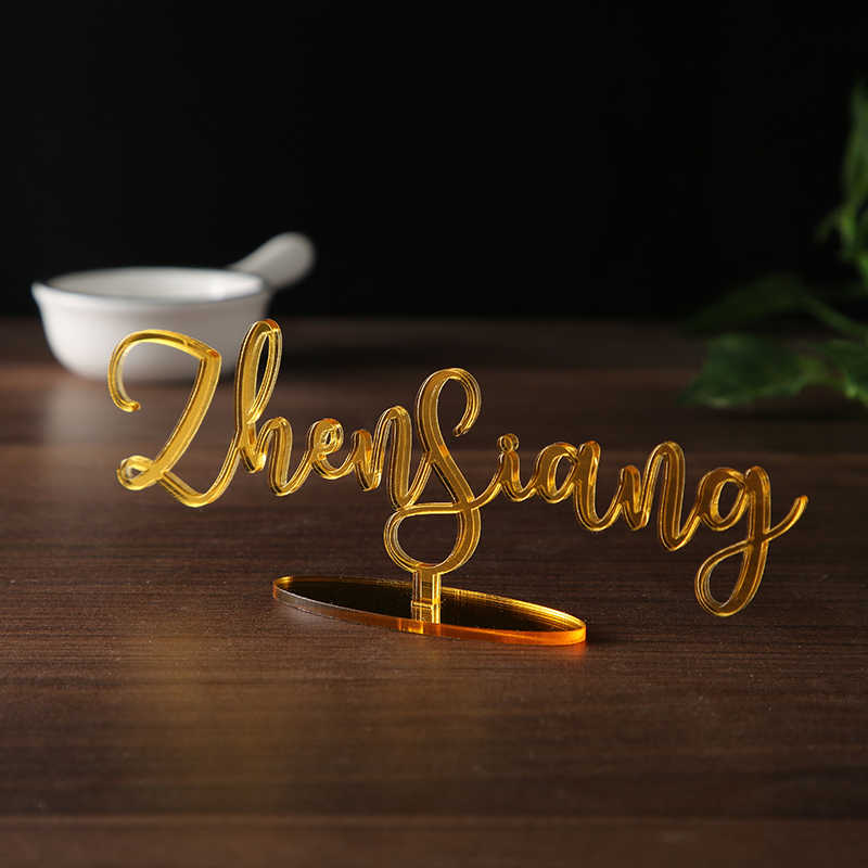 In piedi Laser Cut Nome segni per Le Impostazioni di Cena Carta del Posto di Nozze Escort Carta di Carta del Luogo di nozze Decorazione Calligrafia tag regalo