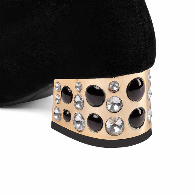 Asumer 2020 Size Lớn 45 Đùi Cao Cấp Giày Bốt Nữ Da Lộn Da Mỏng Co Giãn Giày Pha Lê Vuông Gót Giày Cưới người Phụ Nữ