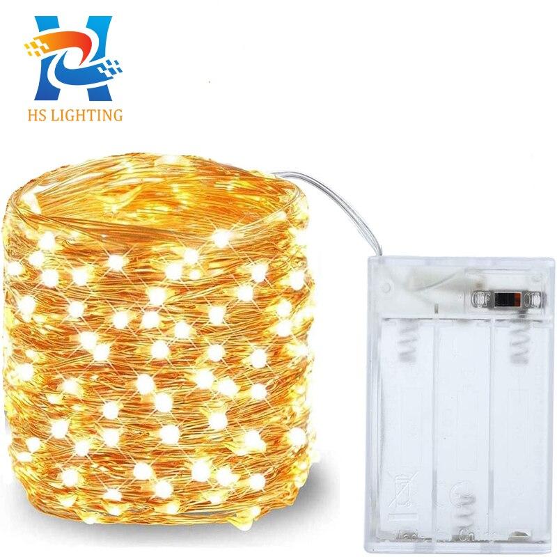 2m 5m10m LED tira luz corda luz fio de cobre 3ª bateria bateria luz natal para decoração de festa de casamento fada guirlanda de férias