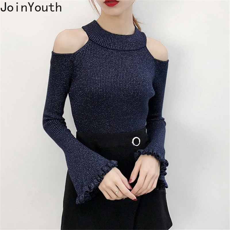 JoinYouth Lurex Bling Solid Sweaters Women Flare Sleeve Hollow Out Pullovers 2019 Autumn Korean Elegant Sueter Mujer J112