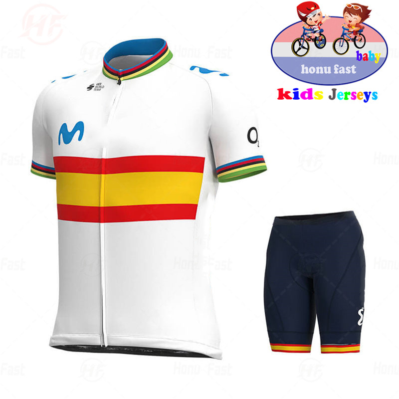 2020 Spain Baby New Breathable Kids Cycling Jersey Set Shorts Fluorescent Pink Children Bike Clothing Boys Girls Summer Bicycle