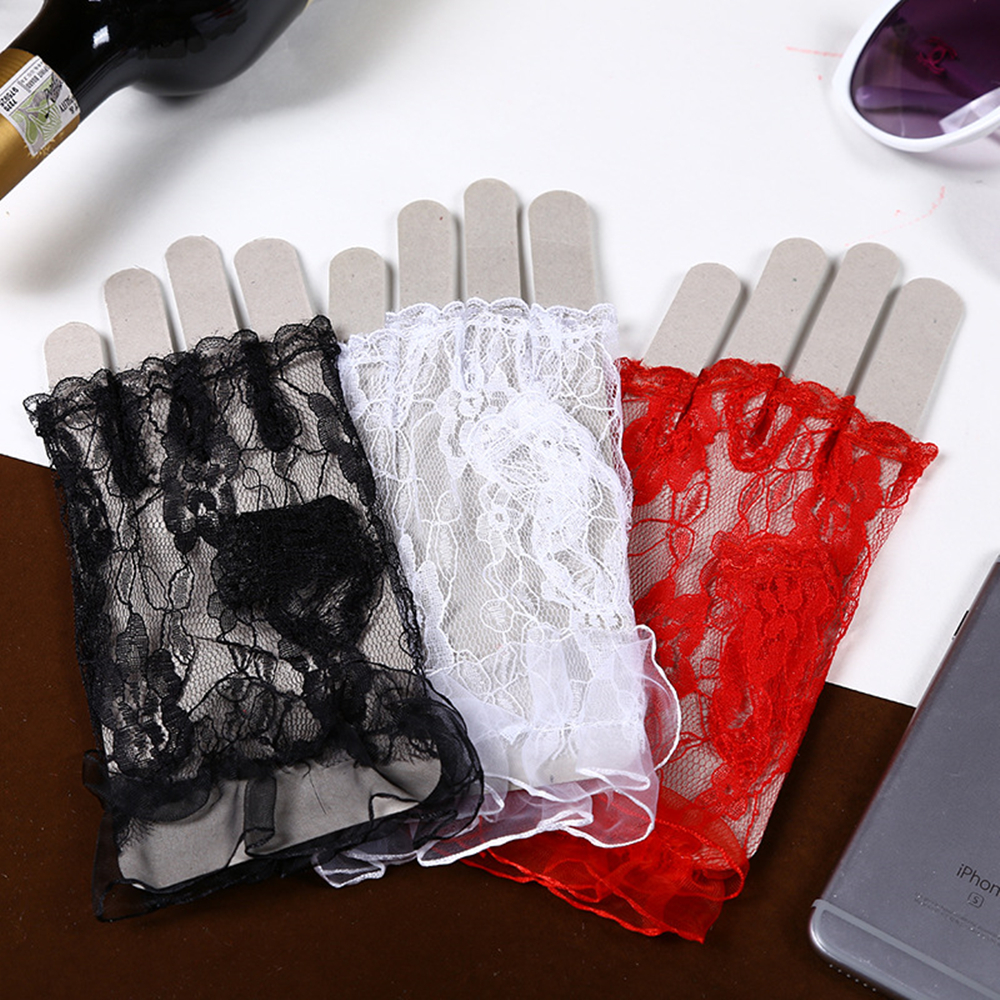 Women Sexy Dressy Lace Gloves Sunscreen Short Gloves Fingerless Lace Driving Gloves Girls Spring And Summer Lace Mittens 1pair