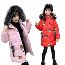 2020 Winter Baby Girls Jackets Fashion Print Hooded Kids Clothing Children Thick Outerwear Warm Coat Parkas