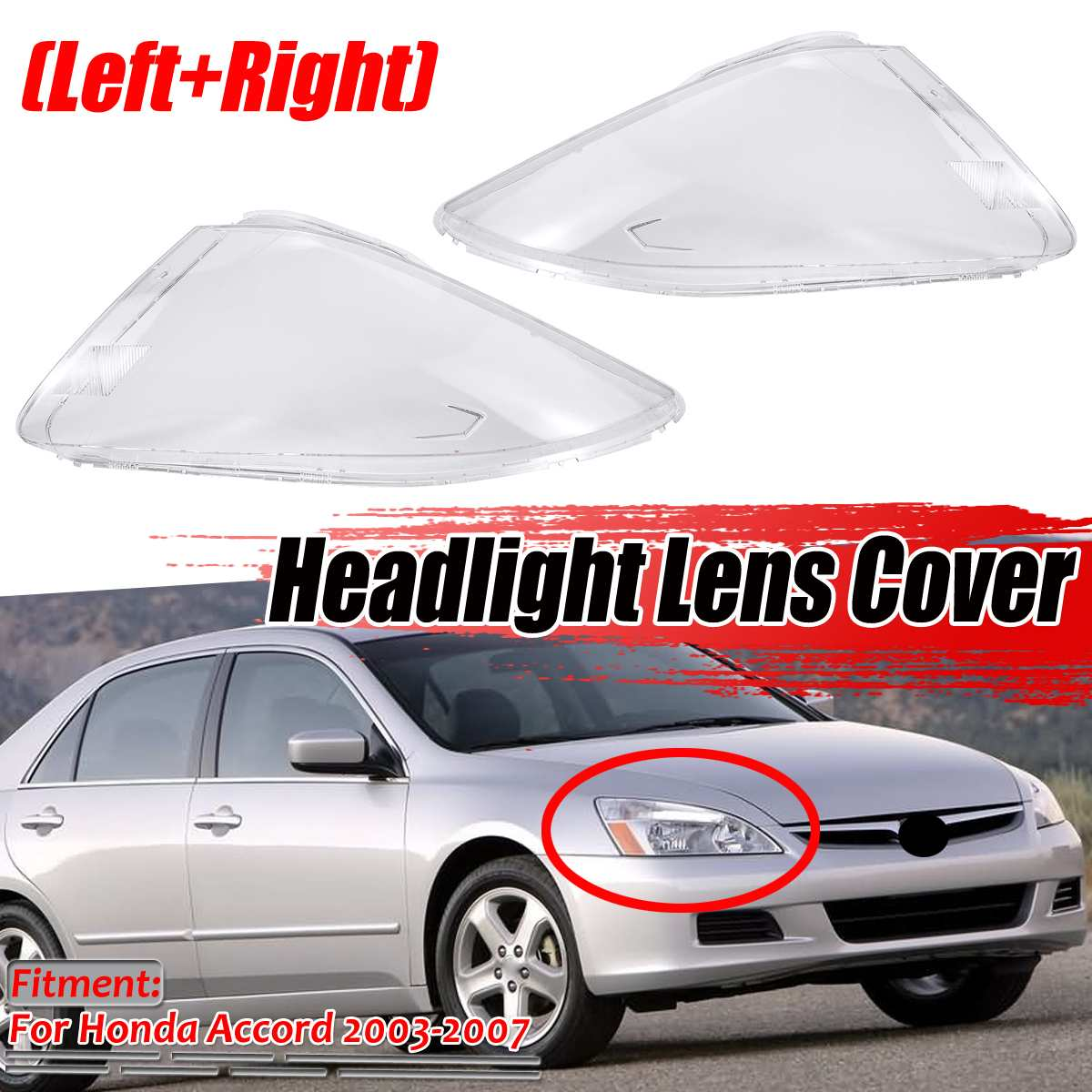 New <font><b>Pair</b></font> Car Front <font><b>Headlight</b></font> Headlamp Light <font><b>Lens</b></font> Shell <font><b>Cover</b></font> Trim For Honda For Accord 2003-2007 Headlamp <font><b>Lenses</b></font> <font><b>Covers</b></font> Trims image