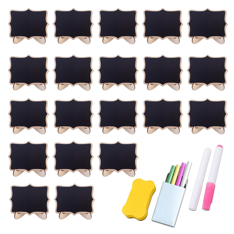 20 Pack Wooden White Framed Chalkboard Labels with Easel Stand Mini Chalkboard XX9A