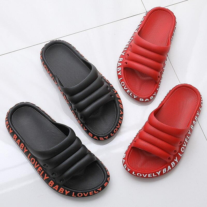 Women Beach Slippers Female Summer At Home Men Slides Fashion Flip Flop Woman Ladies Mules Non-slip Soft Sole House Shoes