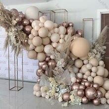 Chrome champanhe balão guirlanda decoração de casamento dupla camada damasco creme pêssego blush nu balão arco do chuveiro do bebê decoração