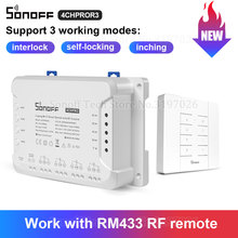 Sonoff 4CH PRO R3 4 Gang 433Mhz RF Smart Switch Interlock Self Locking Inching Modes Remote Control via eWeLink APP Alexa IFTTT