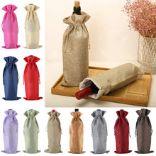 New Jute Wine Bags Red Wine Bottle Covers Gift Champagne Pouch Burlap Packaging Bag Wedding Party Decoration Wine Bags(China)