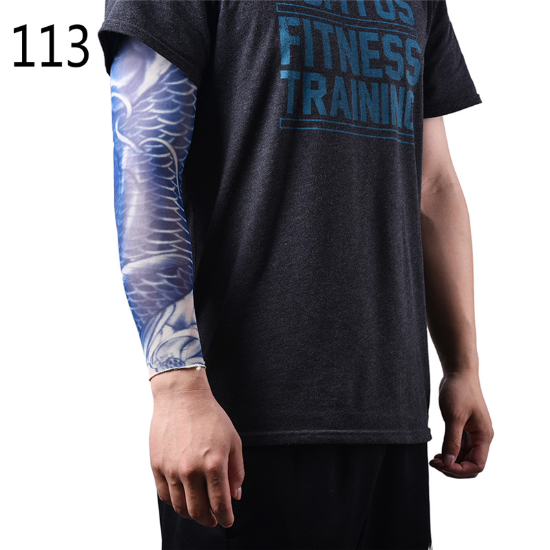 1 Pair  Fashion Men And Women Tattoo Arm Leg Sleeves High Elastic Nylon Party Dance Party Tattoo Sleeve