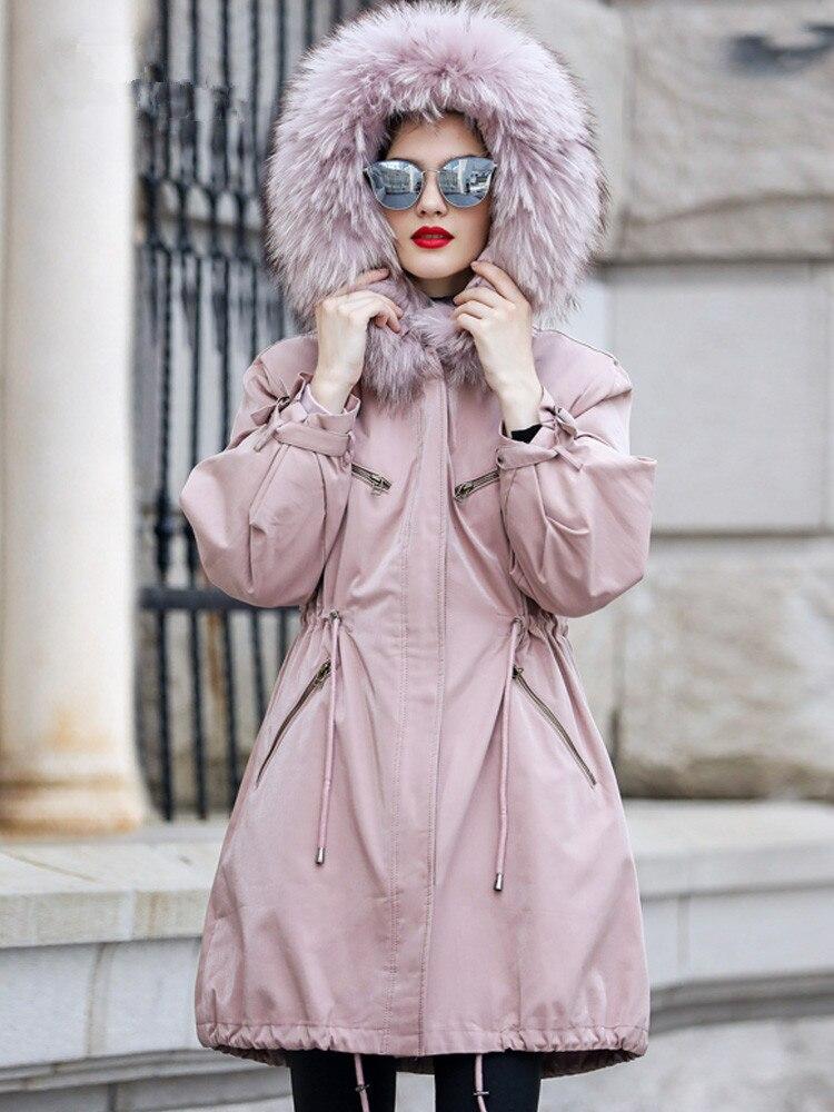 Fur Real 2020 Coat Female Rabbit Fur Liner Parka Winter Coat Women Raccoon Fur Collar Warm Jackets Manteau Femme MY4175