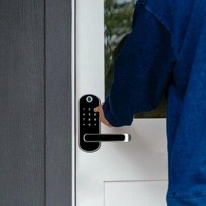 Image 2 - TTlock app טביעת אצבע מנעול חכם, wifi אפליקציה עמיד למים כפתור הקוד pin לוח מקשים אלקטרוני מנעול דלת, ביומטרי נעילת שלט רחוק