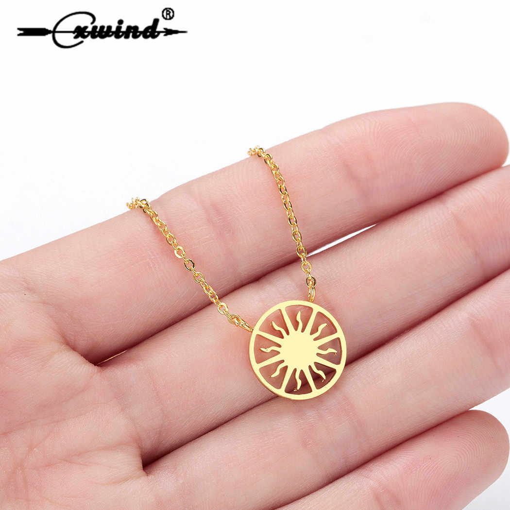 Cxwind Fashion Stainless Steel Sun Necklace Personalized Sun Flowwer Chain Choker Necklaces Pendants Women Simple kolye Gift