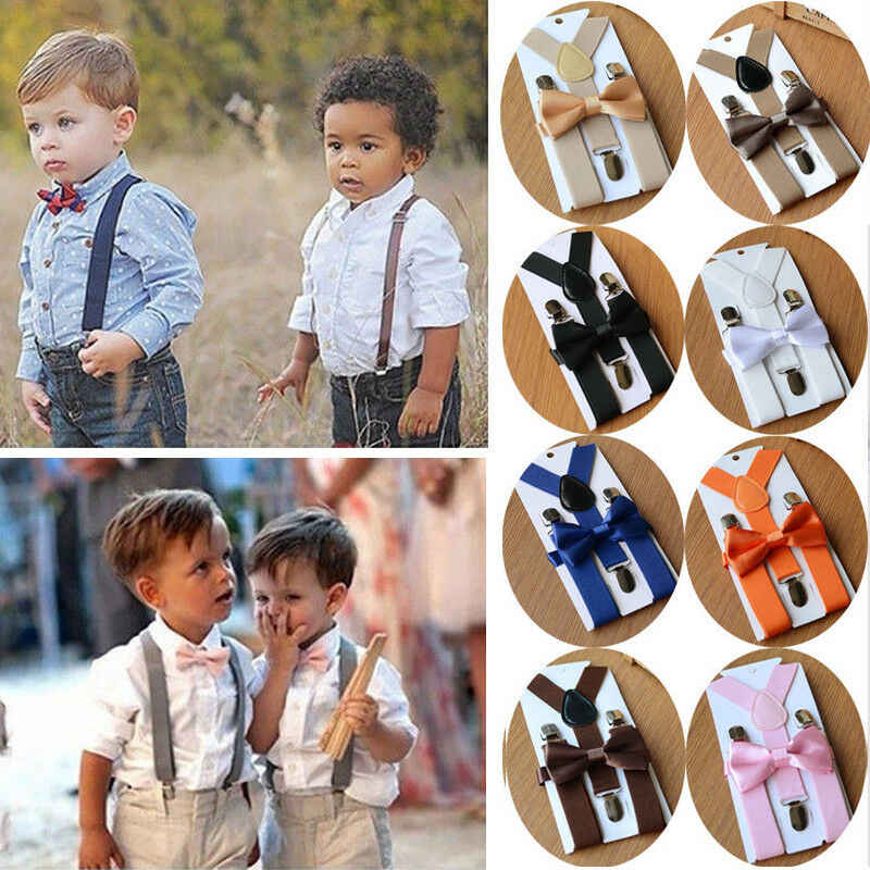 2019 Baby Clothing Accessories Baby Toddler Kids Adjustable Suspender and Bow Tie Set Tuxedo Wedding Suit Party Y-back Clip-on
