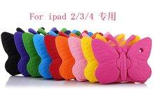 การ์ตูนผีเสื้อ EVA เด็กปลอดภัย Shock PROOF Case สำหรับ Apple IPad 2 / 3 / 4 เม็ดนุ่ม Stand Holder สำหรับ IPad 4 + ปากกา