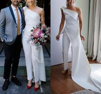 One shoulder Bohemian Wedding Jumpsuit with Train 2020 Modest Outdoor Country Garden Bride Dress with Pant Suit vestidos