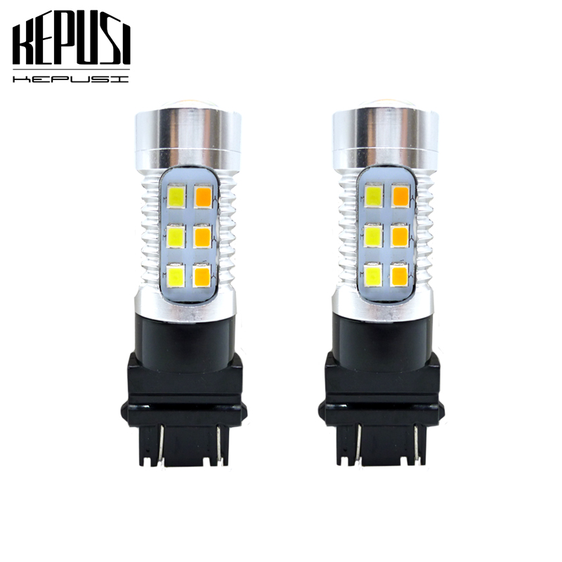 2X 40W 3157 LED Amber Yellow Turn Signal Parking DRL High Power Light Bulbs