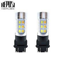цена на 2x High quality 3157 Dual Color Type White Amber Yellow Switchback LED 2835 smd LED DRL Turn Signal Light Parking Light Bulbs