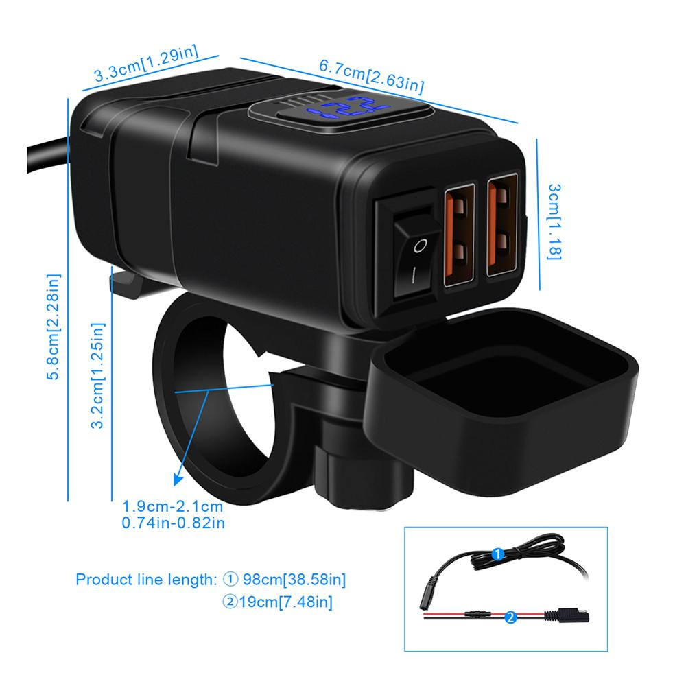 cheapest Motorcycle Vehicle-mounted Charger Waterproof USB Adapter 12V Phone Dual Quick Charge 3 0 Voltmeter ON OFF Switch Moto Accessory