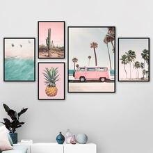 Настенная картина с изображением розового автобуса кактуса ананаса